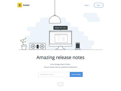 Kastor Landing Page changelog release notes homepage home illustration flat beaver kastor landing