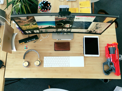 New office, new setup pencil mac apple slack display nerf ipad headphone macbook office setup desktop