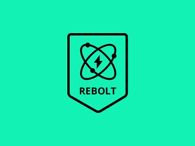Rebolt logo atom thunder logo