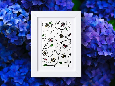 GARDEN 🌺 black drawing cute gardening animal bee illustration doodle art flowers flower garden