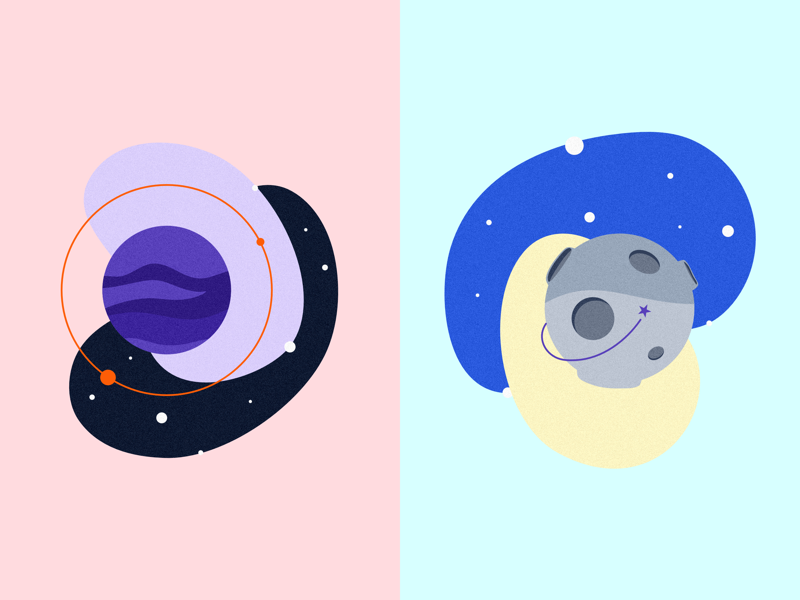 To the moon and back 🚀 affinity designer pencil ipad pro ipad moon blue purple illustration espace planete planet space