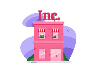 Business pink building illustration ui design ui interface sketch house illustration vector pink house building business shop ecommerce shop ecommerce