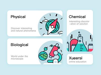 Online education theme icon 2 高中 初中 扁平插画 线描 learning app 学习 生物 科学 design icon illustration 插画 ui