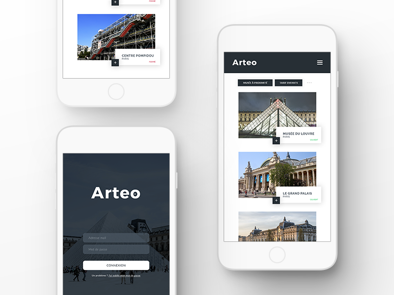 App Arteo Museum city interface first shot design app ios mobile museum application ux ui design