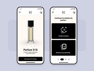 Perfume app - Quiz creation questions quizz concept ui ux figma product interface dribbble perfume app new design