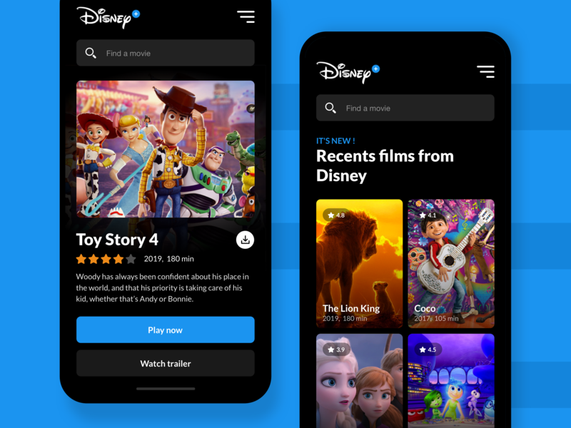 Video App Disney Plus website webdesign disney video app rental figma desktop animation clean video ux dribbble new app ui
