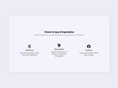 Customer Import App figma interface facebook load animation drag and drop messagebird mailchimp dashboard new
