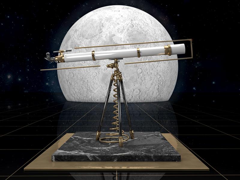 T Telescope 36 ÇDays of Type gold lighting texturing modeling 3d typography type telescope