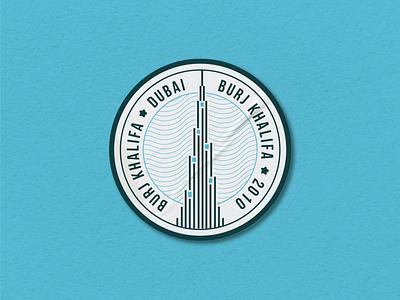 BURJ KHALIFA STICKER vector illustration design tallest building khalifa burjkhalifa burj stamp sticker symbol logo icon branding