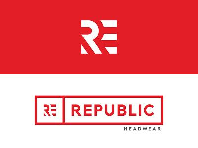 REPUBLIC HEADWEAR logoidentity freedom republic cap illustration identity logo icon symbol re graphic design headwear branding