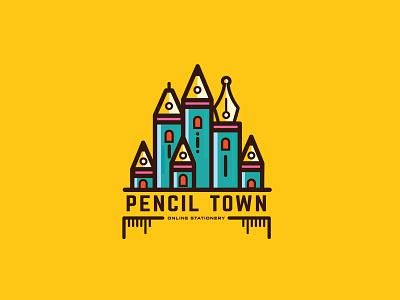 PENCIL TOWN pen art city town pencil vector graphic design ui illustration symbol identity icon design logo branding