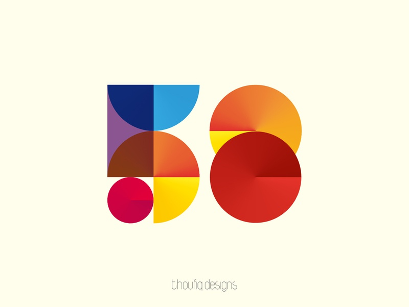 Numbers identity branding icon logo vector design illustration colorful gradient blend 8 5 58 numbers