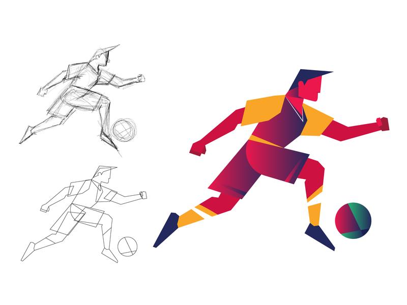 Football sports branding sports design ball football club character design illustration graphic design branding wall art wall game sport player soccer football