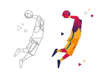 Basketball player scores flat illustration simple modern geometric branding character design graphic design illustration winner score dunk sports branding sports sport player basketball player basketball