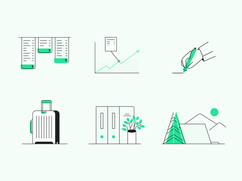 Spot illustrations for Payhawk software finance business simple minimal line art spot illustration icon design icon set icon design illustration graphic design