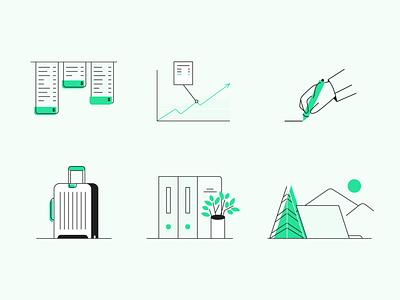 Spot illustrations for Payhawk software finance business simple minimal line art spot illustration icon design icon set icon design illustration graphic design