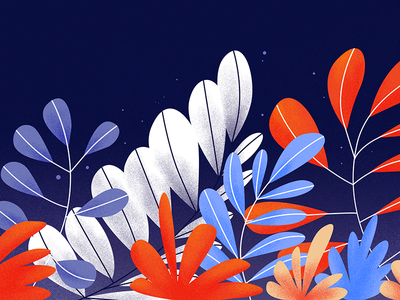 Plants night orange blue summer spring forest flowers plants graphic design illustration