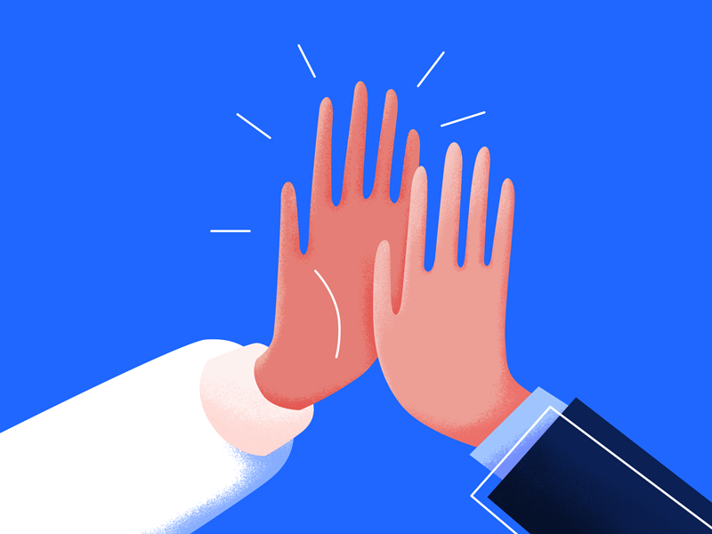 Collaboration business success hands high five clap teamwork team colab collaboration graphic design illustration