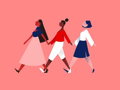 Women supporting women feminist feminism girl women woman graphic design character 2d illustration