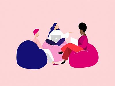 Female leaders girl power women empowerment women ideas communication brainstorming brainstorm creative feminist feminism female leadership leader business character design illustration graphic design