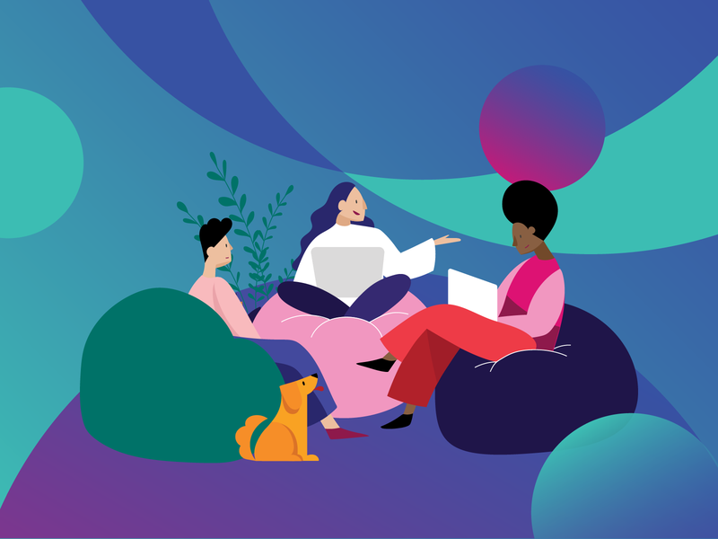 Women in the workplace teamwork team coworking feminist feminism women in illustration women empowerment women technology tech workspace work character design illustration graphic design