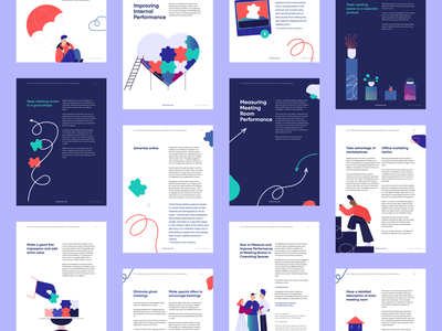 Improve Performance in Coworking Spaces eBook illustrations infographics infographic teamwork workspace workplace work graphics ebooks ebook vector design character illustration graphic design