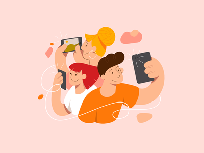 Snap that photo people illustration app application shooting tablet devices camera photos selfie friends man women characters people character design illustration graphic design