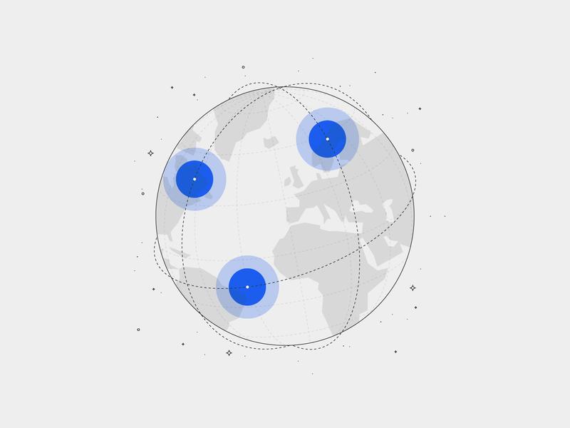Spaceit Website Illustration earth hellsjells ui minimal globe line stroke illustration webillustration website trajectory spaceit satellite planet space