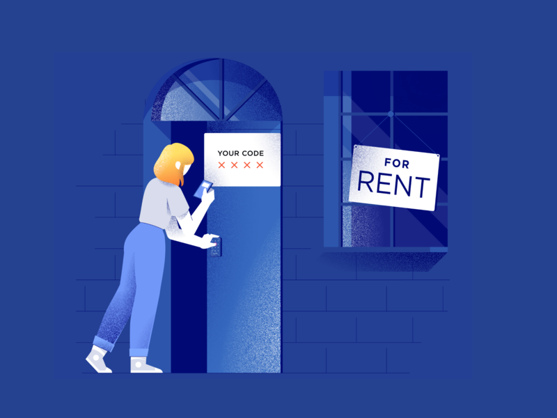 Self Touring Character Illustration website window building illustration phone woman door character realestate hero tour smarthome house touring rental housing lock smart texture real-estate