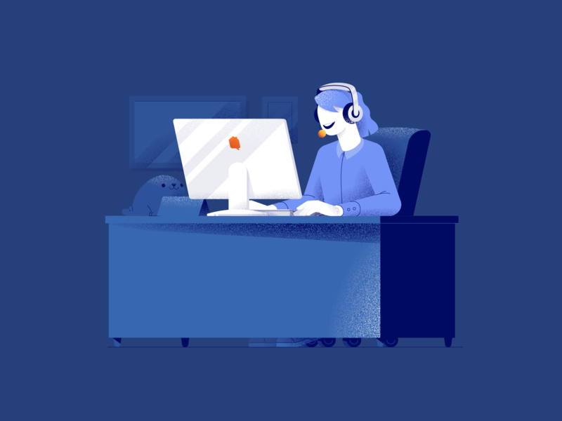 Client Support Character Illustration hellsjells minimal geometric girl help call center texture woman smart home self-touring touring house office desk call support client support character illustration