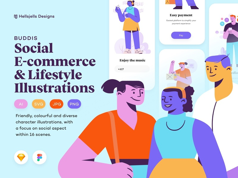 Buddis - Social E-commerce & Lifestyle Illustration Kit download diverse clean social media delivery webshop ecommerce social colors friendly colorful mobile landing ui toolkit character characters kit illustration kit ui8