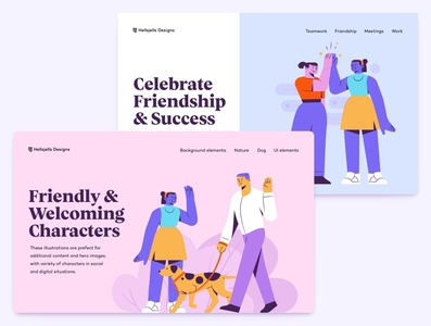Buddis - Social E-commerce & Lifestyle Illustration Kit colors diverse web illustrations landing hero friendship geometric characters hellsjells dog walker dog high-five e-commerce web shop ecommerce social ui8 illustration kit kit sale