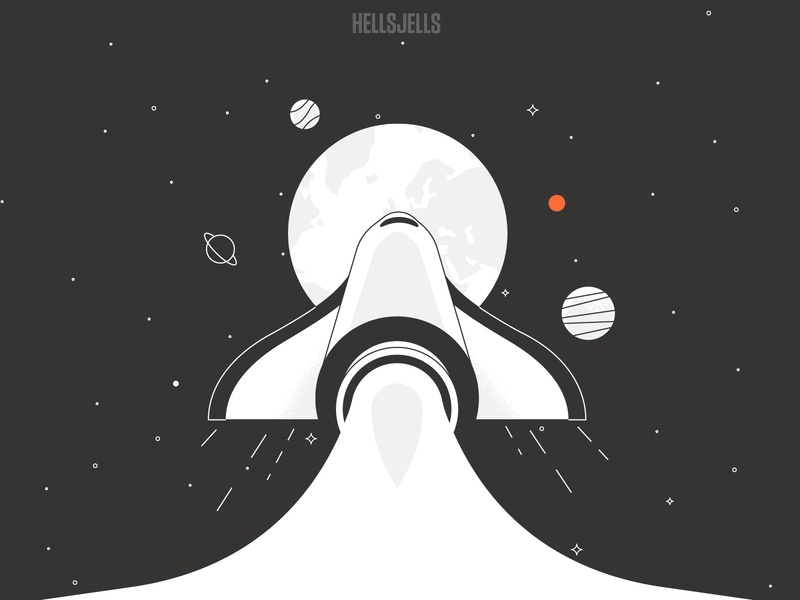 Rocket Illustration perspective onboarding stars success start launch flying monoline stroke hellsjells fuel earth planet universe spaceship startup rockets planets space