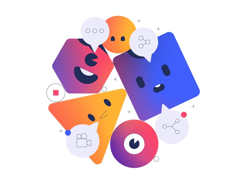 Social Media Sharing Illustration stroke face eye speech friendly colorful gradient app illustration mobile movie film talking share sharing social media social characters cute