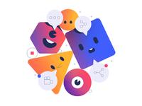 Social Media Sharing Illustration stroke face eye speech friendly colorful gradient app illustration mobile movie film talking share sharing social media social characters cute
