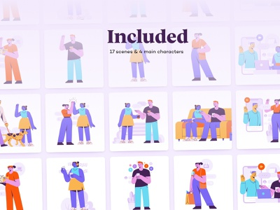 Buddis - Social E-commerce & Lifestyle Illustration Kit lifestyle orders delivery characters web illustrations hero friends ui8 colors sale download webshop social buddis buddies friendship illustration kit