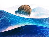 Wine Label Illustration sailing wooden ocean water seaside vector illustration graphic halftone waves wint sea barrel winebarrel boat illustration wine