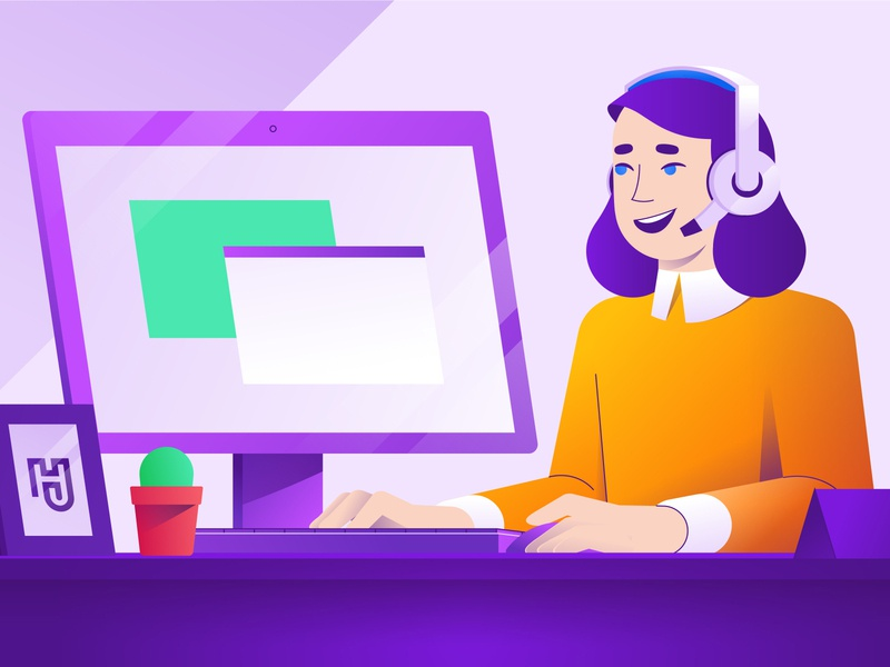 Customer Service Character Illustration explaining talking social desk woman colourful happy smiling working computer headset microphone client support client support customer service storyboard animation character geometric