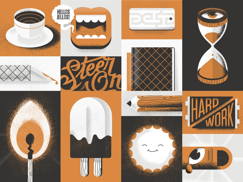 Hellsjells Personal Branding Grid Illustration work time textured sunshine steer on personal motivational passion illustrator ice-cream hard work hellsjells flag finger designer creator coffee presonal branding
