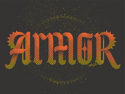 Armor - Typetober Lettering Illustration gritty spiked daily historical medieval gothic old style typetober inktober armor spikes scales custom type lettering typography type blackletter texture hellsjells illustration