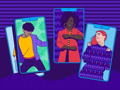 Blog Header - TikTok Campaign phone app diverse woman man girl guy person young people characters people cryptocurrency video app dance tiktok dance tiktok crypto paxful hellsjells illustration