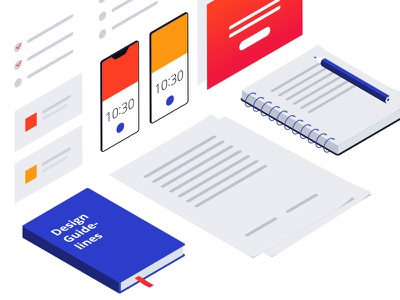 Isometric illustration for kick-off meeting communication schedule meeting guidelines design papers isometric illustration white minimal