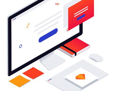 Isometric illustration for prototyping layout digital website mac prototype sketch illustration isometric