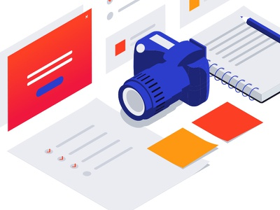 Isometric illustration for photography photography website camera layout isometric illustration digital