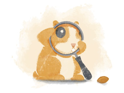 Curious hamster illustration glass magnifying found not search peanut textured illustration hamster