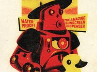 Retro Holiday Robot Illustration