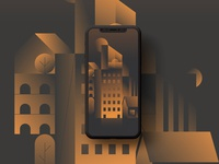 Gradient city illustration