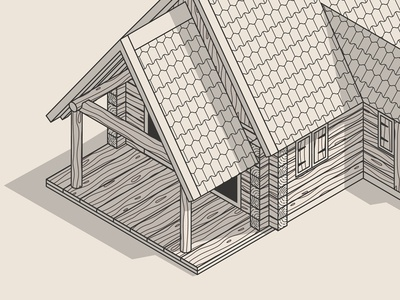 Isometric house Construction Illustration