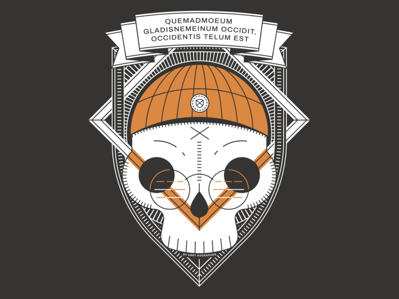 Hackathlon T-shirt Skull Design vol 2 duocolor flag latin skull stroke symmetric shield programming hellsjells illustration geometry geometric dark design shirt beanie banner