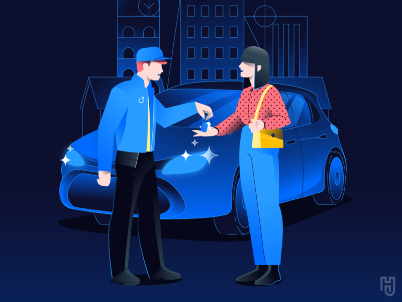 Car washing app intro character illustrations guy hellsjells city gradient onboarding app mobile complete handover keys flat urban blue dark car wash carwash woman character illustration